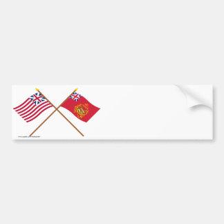 Banderas magníficas cruzadas de Batallion de la un Etiqueta De Parachoque