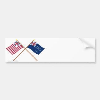 Banderas magníficas cruzadas de la unión y de Geor Pegatina De Parachoque