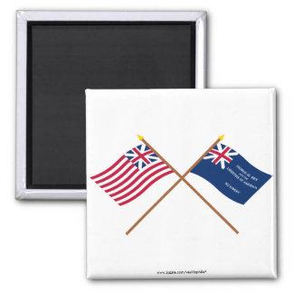 Banderas magníficas cruzadas de la unión y de Geor Imanes