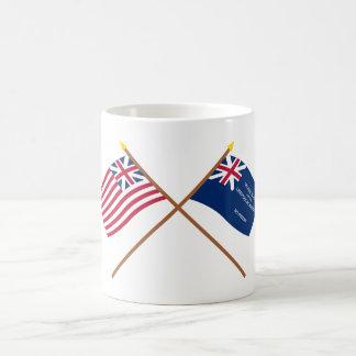 Banderas magníficas cruzadas de la unión y de Geor Taza De Café