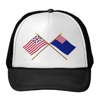 Banderas magníficas cruzadas de la unión y de la m gorros bordados