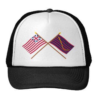 Banderas magníficas cruzadas de la unión y de la m gorros