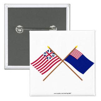 Banderas magníficas cruzadas de la unión y de la m pin