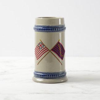 Banderas magníficas cruzadas de la unión y de la m jarra de cerveza