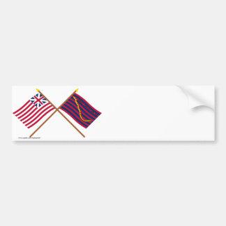 Banderas magníficas cruzadas de la unión y de la pegatina para auto