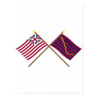 Banderas magníficas cruzadas de la unión y de la tarjetas postales