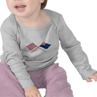 Banderas magníficas cruzadas de la unión y de camisetas