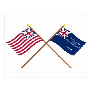 Banderas magníficas cruzadas de la unión y de postal