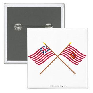 Banderas magníficas cruzadas de la unión y del cab pins