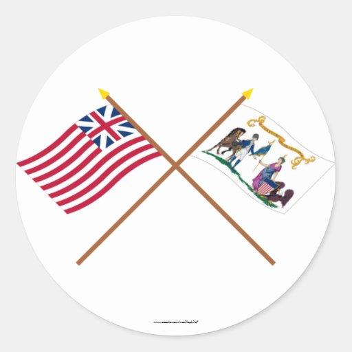 Banderas magníficas cruzadas de la unión y del pegatina redonda