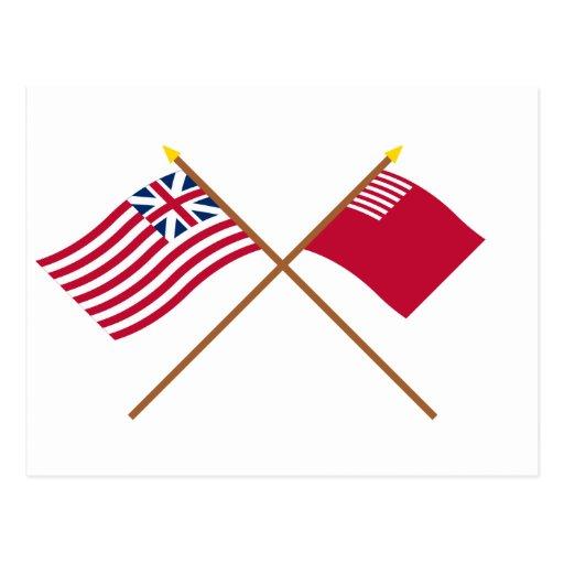 Banderas magníficas cruzadas de la unión y del postales