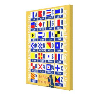 Banderas náuticas del alfabeto impresión en lienzo
