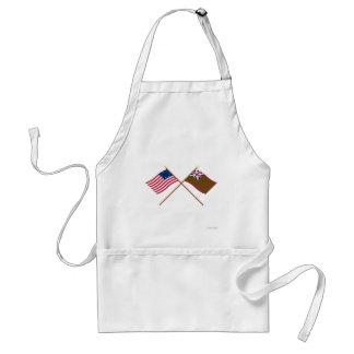 Banderas navales de Betsy Ross cruzado y de la uni Delantal