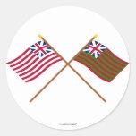 Banderas navales de la unión magnífica cruzada y etiqueta redonda