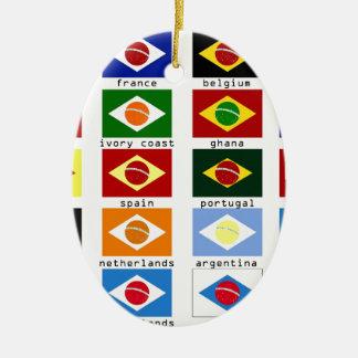 banderas para la copa del mundo en Brasil Adorno Navideño Ovalado De Cerámica