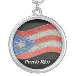 Banderas-Puerto Rico Colgante Redondo
