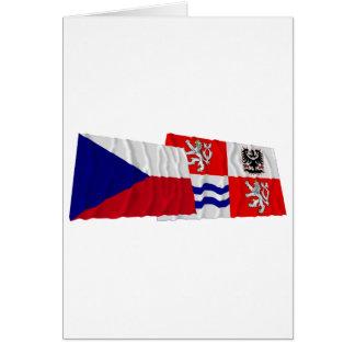 Banderas que agitan checas y centrales de Bohemia Tarjeta De Felicitación