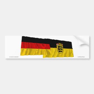 Banderas que agitan de Alemania y de Baden-wurttem Etiqueta De Parachoque