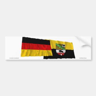 Banderas que agitan de Alemania y de Sajonia-Anhal Pegatina Para Auto