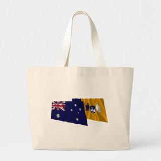 Banderas que agitan de Australia y del territorio Bolsa Tela Grande