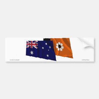 Banderas que agitan de Australia y del Territorio Pegatina Para Auto