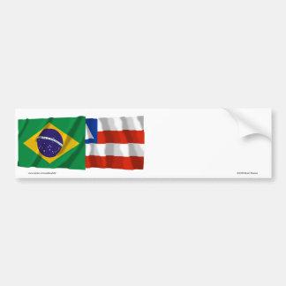 Banderas que agitan de Bahía y del Brasil Pegatina Para Auto