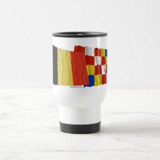 Banderas que agitan de Bélgica y de Amberes Tazas De Café