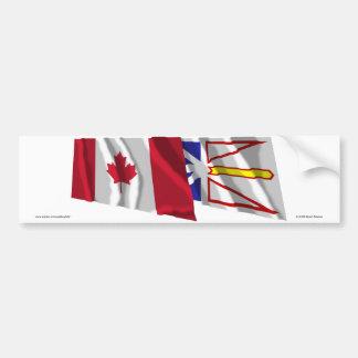 Banderas que agitan de Canadá y de Terranova Pegatina Para Auto