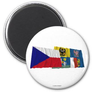 Banderas que agitan de Checo y de Moravia-Silesia Iman Para Frigorífico