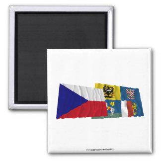 Banderas que agitan de Checo y de Moravia-Silesia Imanes