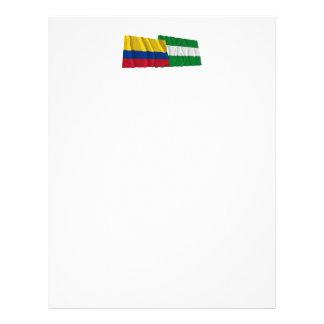 Banderas que agitan de Colombia y de Cesar Membrete Personalizado