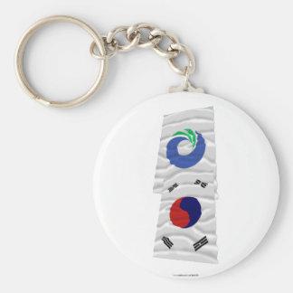 Banderas que agitan de Corea y de Inchon Llavero Personalizado