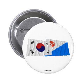 Banderas que agitan de Corea y de Jeju-Do Pin Redondo 5 Cm