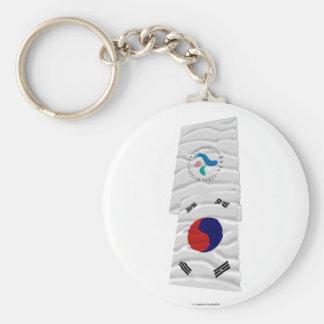 Banderas que agitan de Corea y de Seul Llavero