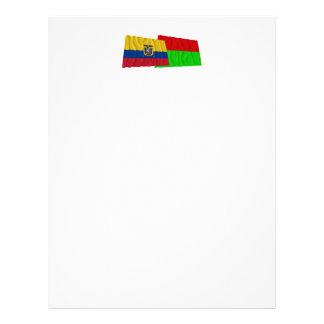 Banderas que agitan de Ecuador y de Bolívar Membrete