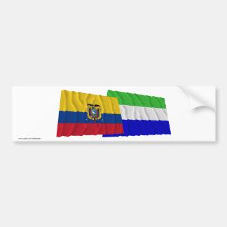 Banderas que agitan de Ecuador y de Galápagos Pegatina Para Auto