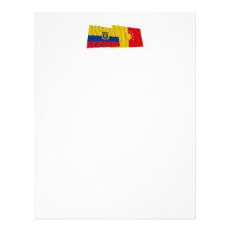 Banderas que agitan de Ecuador y de Pichincha Membrete