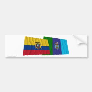 Banderas que agitan de Ecuador y de Santa Elena Pegatina Para Auto