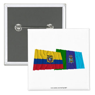Banderas que agitan de Ecuador y de Santa Elena Pin