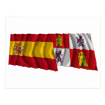 Banderas que agitan de España y de Castilla y León Tarjeta Postal