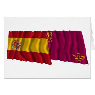 Banderas que agitan de España y de Murcia Tarjeta De Felicitación