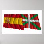 Banderas que agitan de España y de País Vasco (vas Póster