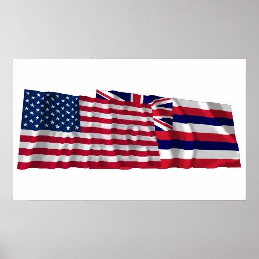 Banderas que agitan de Estados Unidos y de Hawaii Poster