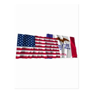 Banderas que agitan de Estados Unidos y de Iowa Tarjeta Postal