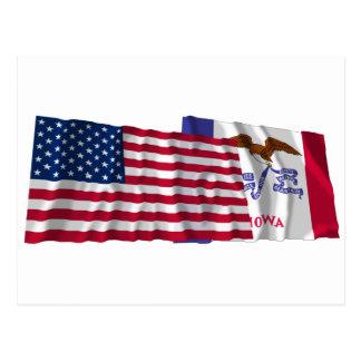 Banderas que agitan de Estados Unidos y de Iowa Postal