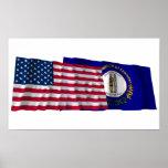 Banderas que agitan de Estados Unidos y de Kentuck Impresiones