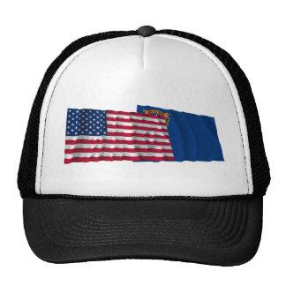 Banderas que agitan de Estados Unidos y de Nevada Gorros Bordados