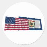 Banderas que agitan de Estados Unidos y de Etiqueta Redonda