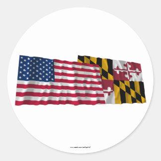 Banderas que agitan de Estados Unidos y de Pegatina Redonda
