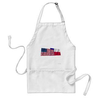 Banderas que agitan de Estados Unidos y de Tejas Delantal